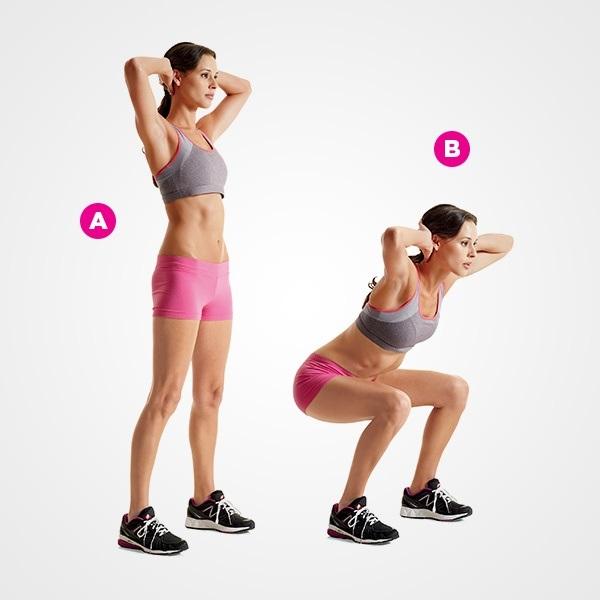 Bài tập giảm mỡ bụng cực nhanh bằng cách ngồi xổm