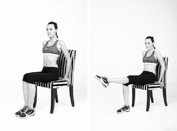 Bài tập nâng chân giảm mỡ bụng siêu nhanh với ghế